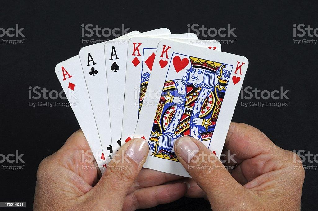 Full house poker hand. stock photo