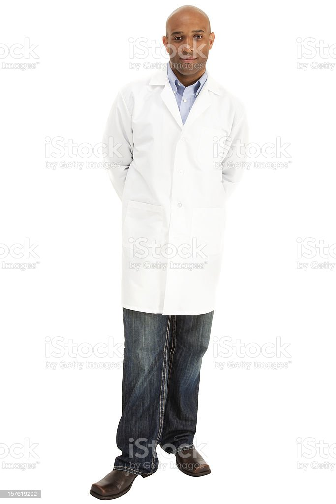 Full length African American Male wearing a white lab coat stock photo