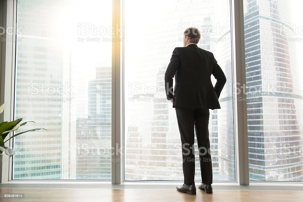 Full length back view of successful businessman in big city stock photo