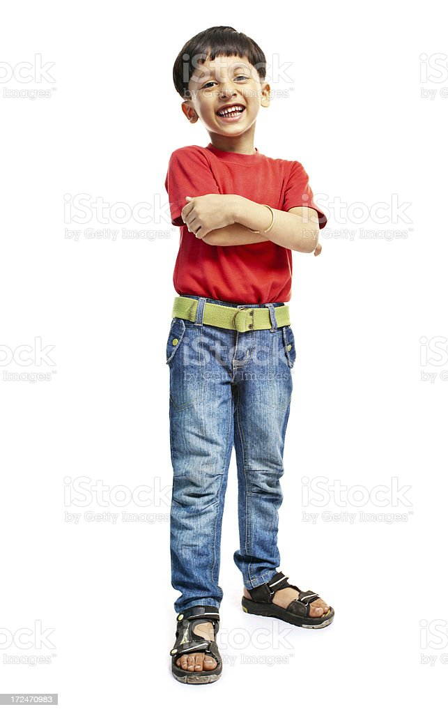 Full Length Casual Happy Indian Boy Child Isolated on White royalty-free stock photo