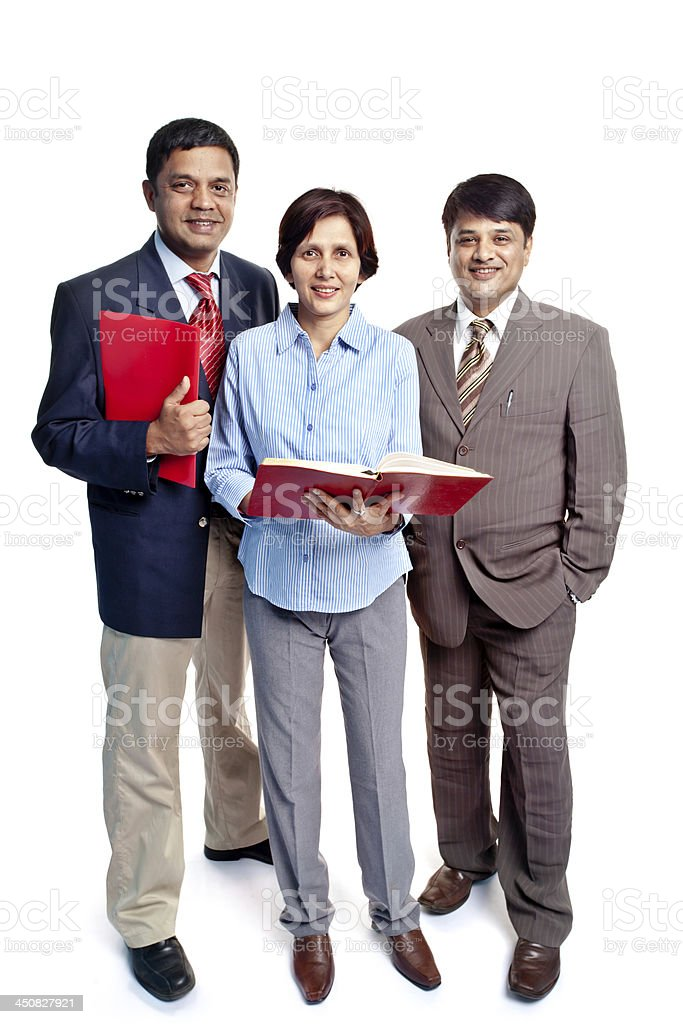 Full Length Cheerful Confident Indian Corporate Business Team royalty-free stock photo