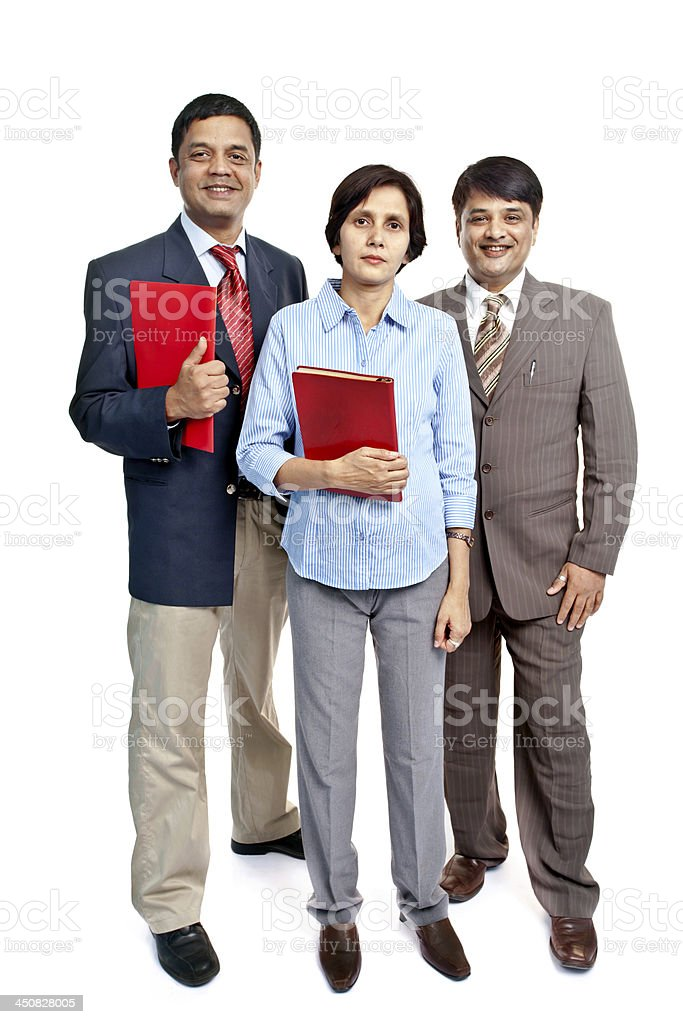 Full Length Cheerful Confident Indian Corporate Business Team stock photo