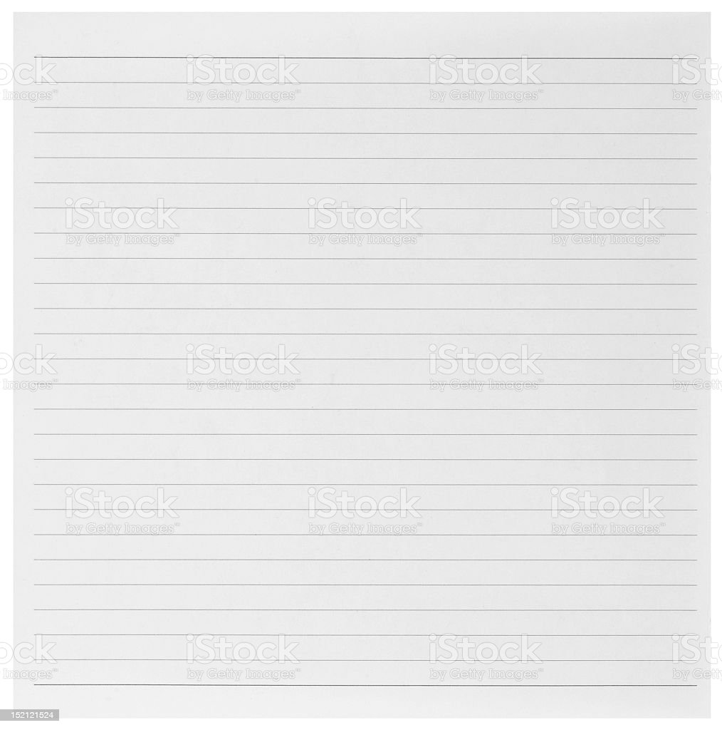 Full length image of an empty sheet of ruled paper stock photo