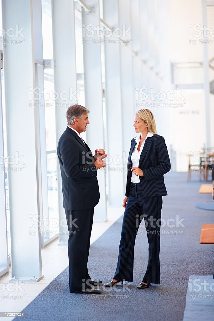 Full length image of two business people discussing business issues stock photo