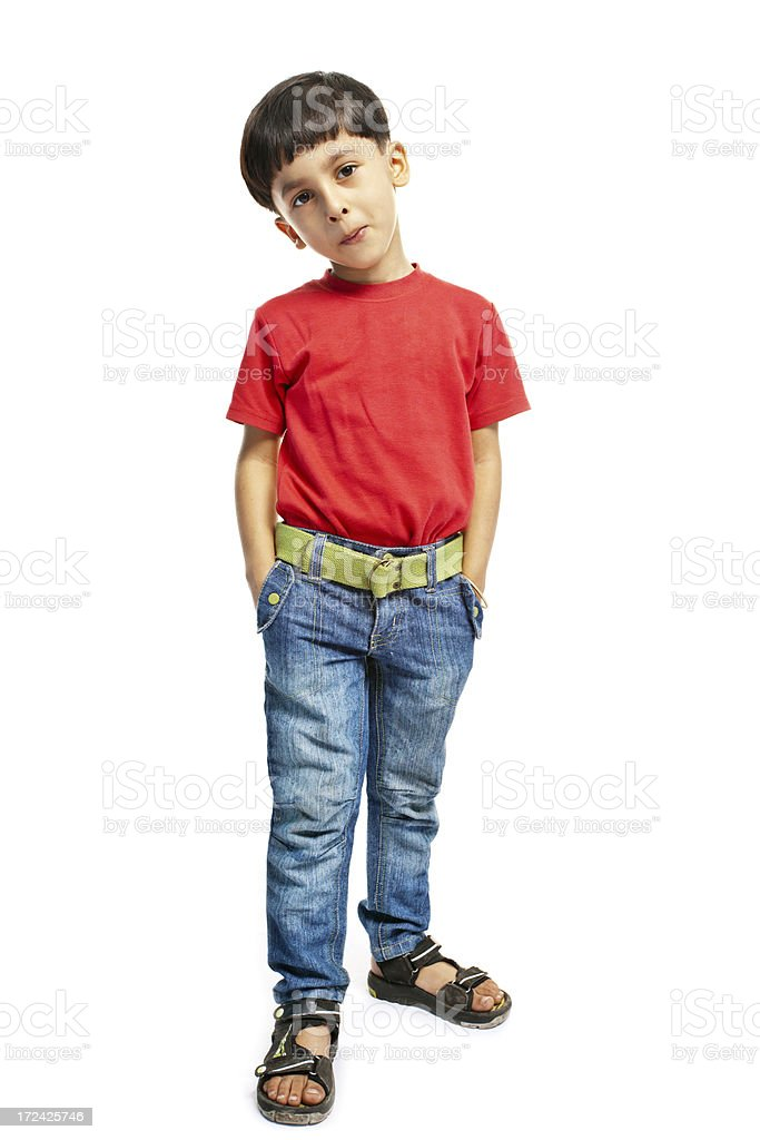 Full length Indian Boy with Hands in Pockets on White stock photo