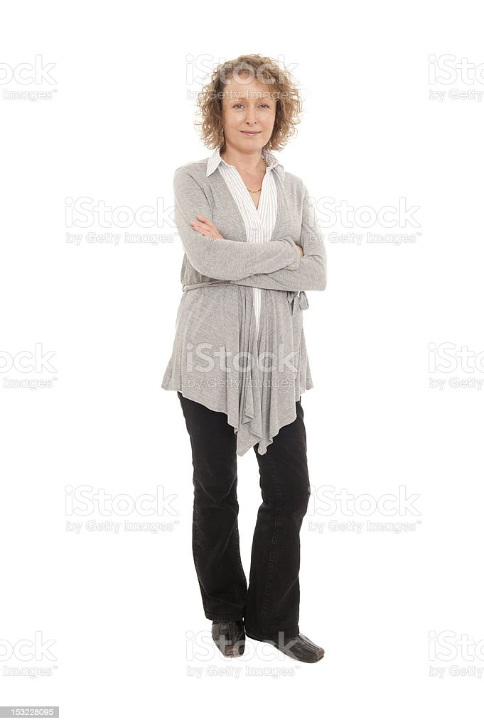 Full Length Mature woman isolated on White royalty-free stock photo