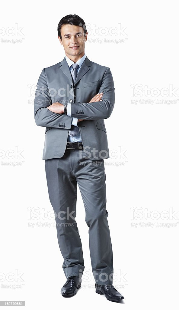 Full length of a confident business man on white royalty-free stock photo