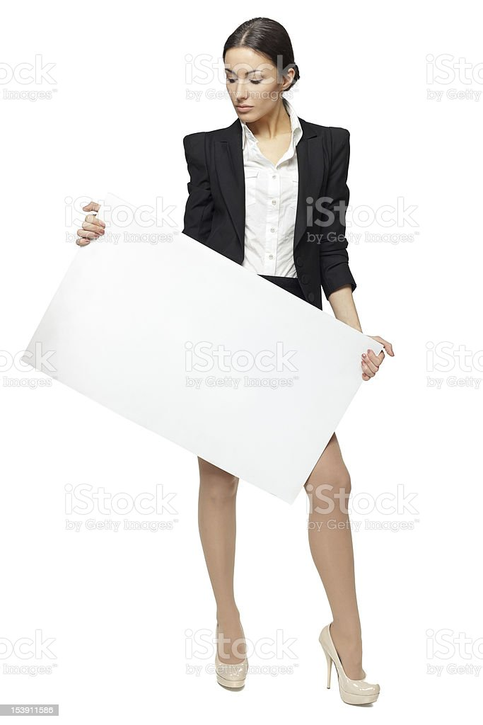 Full length of business woman holding the blank board royalty-free stock photo