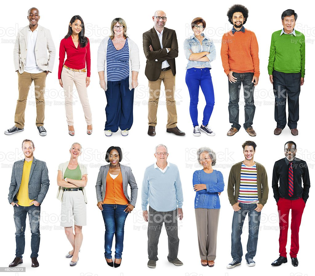 Full Length of Diverse Multiethnic People in a Row stock photo