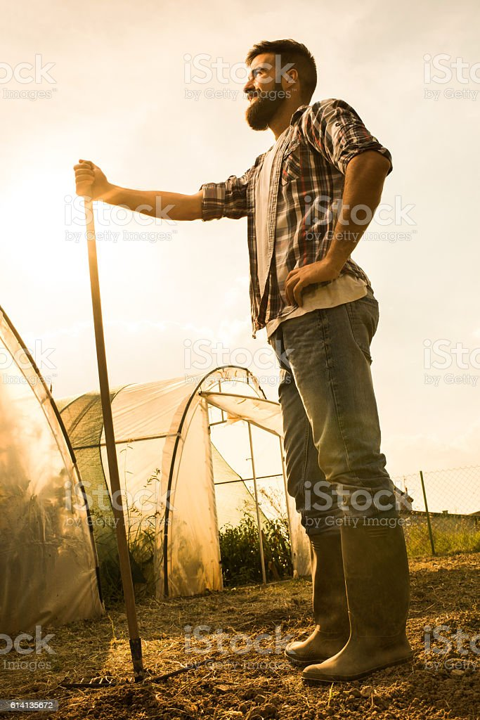 Full length of happy farmer with a rake on field. stock photo