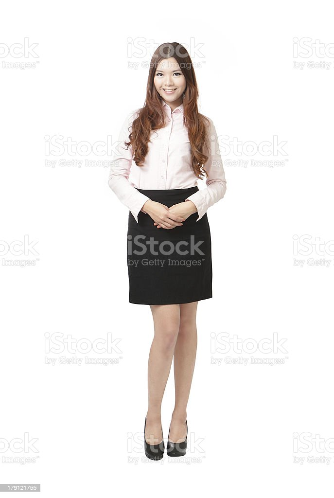 Full length of pretty business woman smile standing royalty-free stock photo
