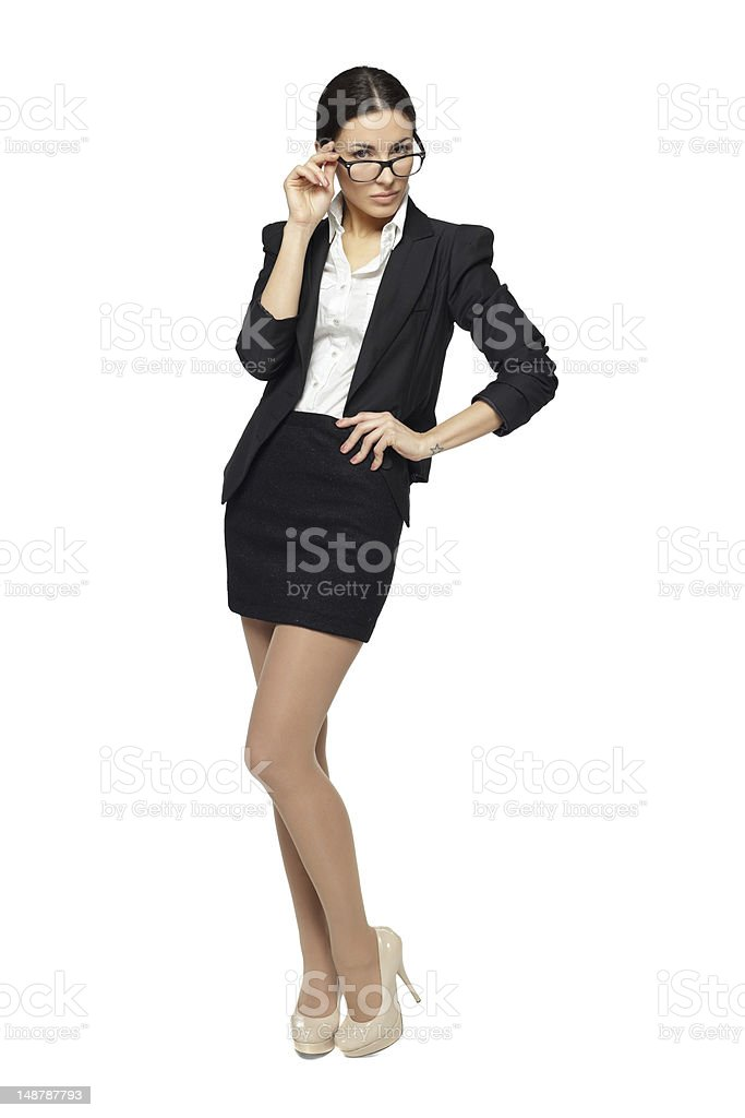 Full length of  serious business woman royalty-free stock photo