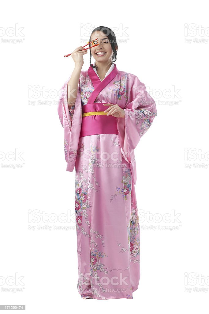 Full Length of Young Woman in Kimono Dress royalty-free stock photo