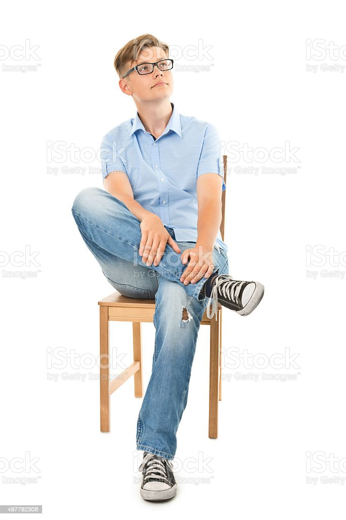 full length picture of young man in glasses stock photo