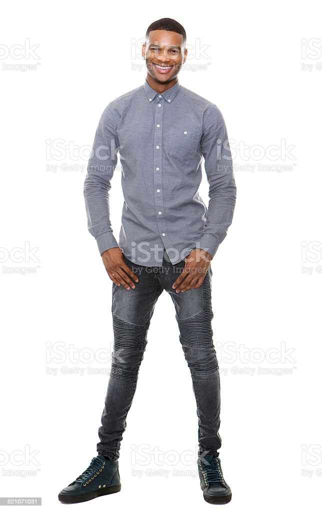Full length portrait of a cool black guy smiling stock photo
