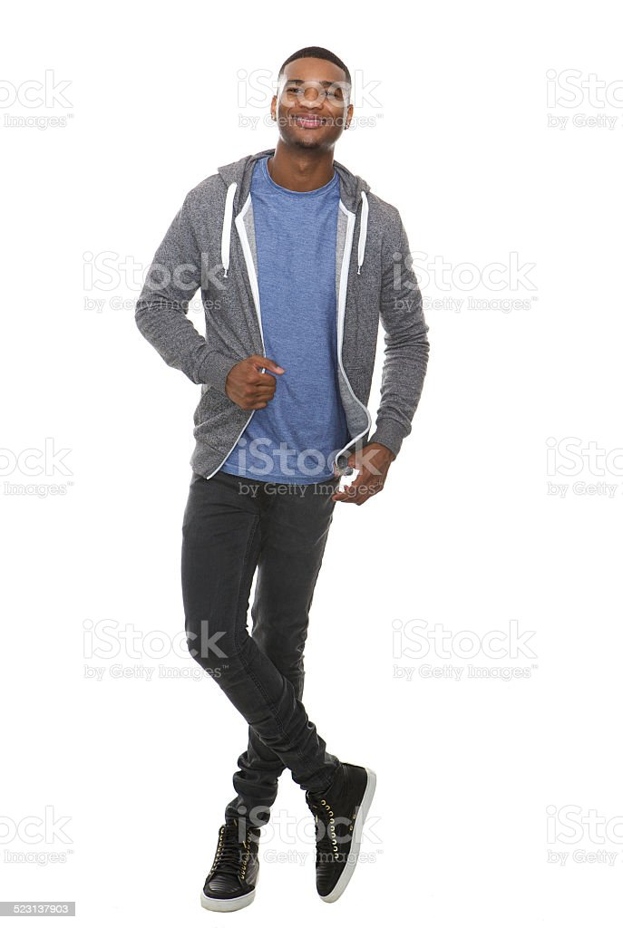 Full length portrait of a cool young black man smiling stock photo