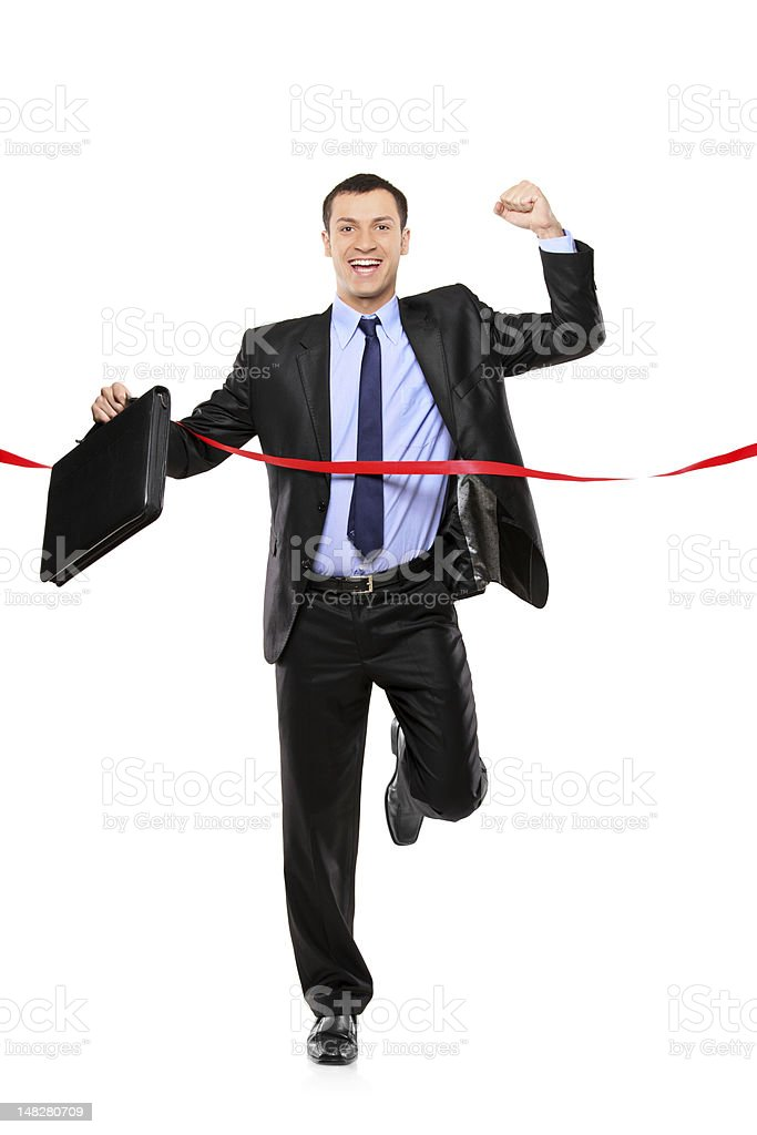 Full length portrait of a man running royalty-free stock photo