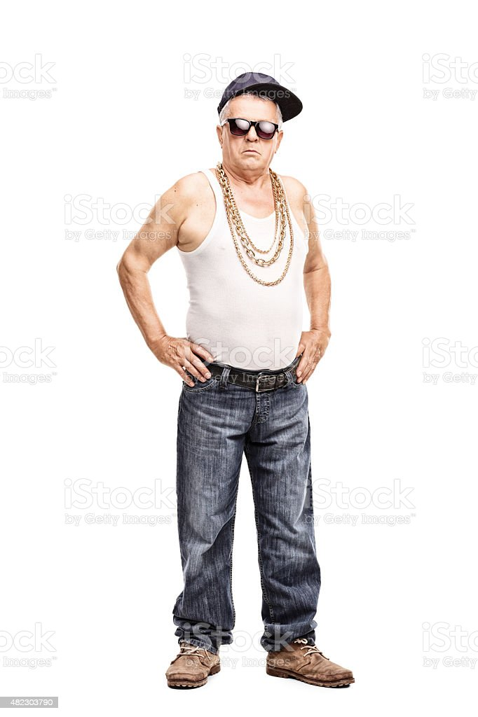 Full length portrait of a senior man in hip-hop clothes stock photo