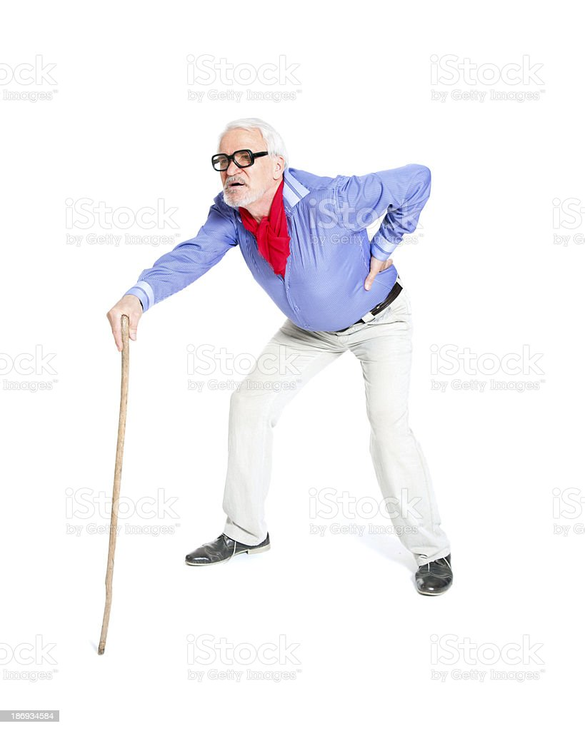 Full length portrait of a senior man walking with cane royalty-free stock photo