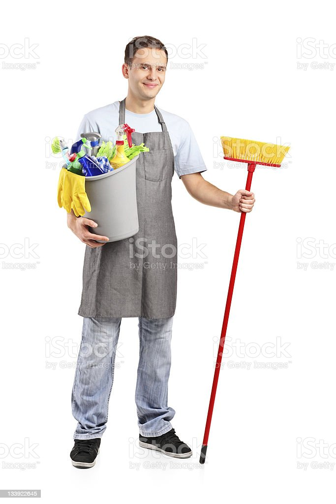 Full length portrait of a smiling cleaner royalty-free stock photo