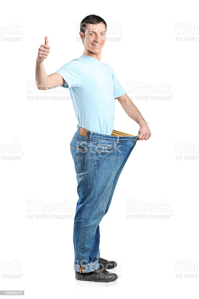 Full length portrait of a weight loss male royalty-free stock photo