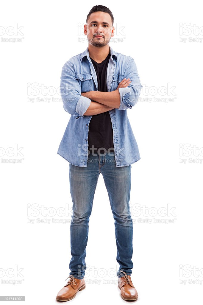 Full length portrait of a young man stock photo
