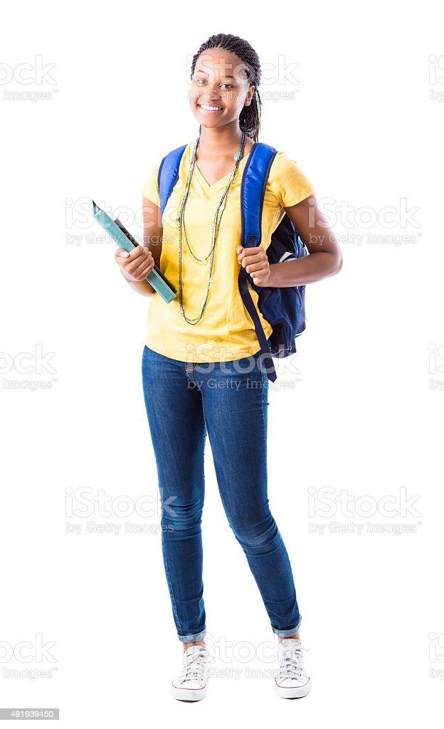Full length portrait of African American high school girl stock photo