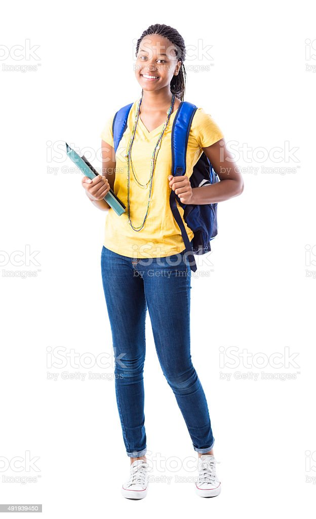Full length portrait of African American high school girl stock photo