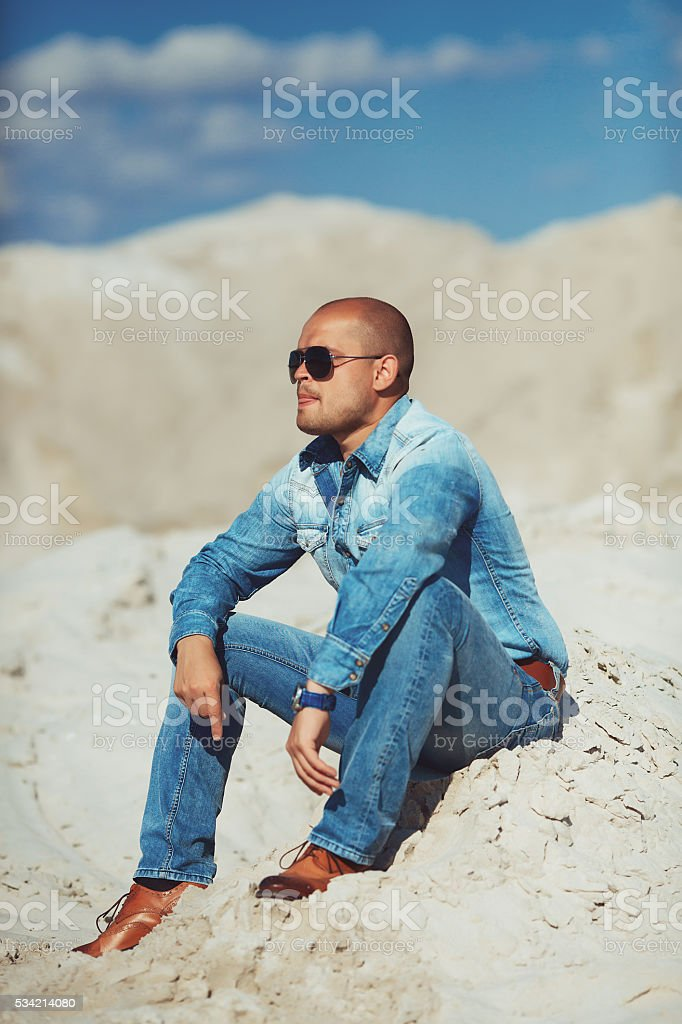 Full length portrait of happy man royalty-free stock photo