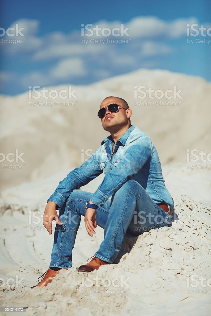 Full length portrait of happy man royalty-free stock photo