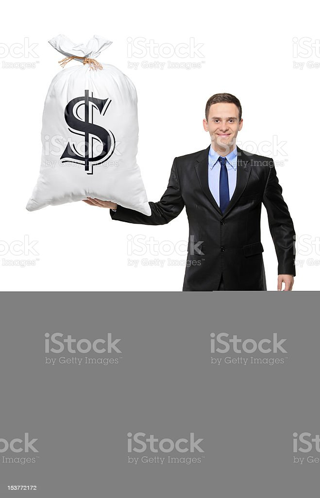 Full length portrait of man holding a bag royalty-free stock photo