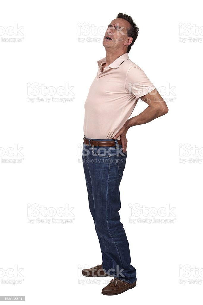 Full Length Portrait of Man Wincing with Back Pain royalty-free stock photo