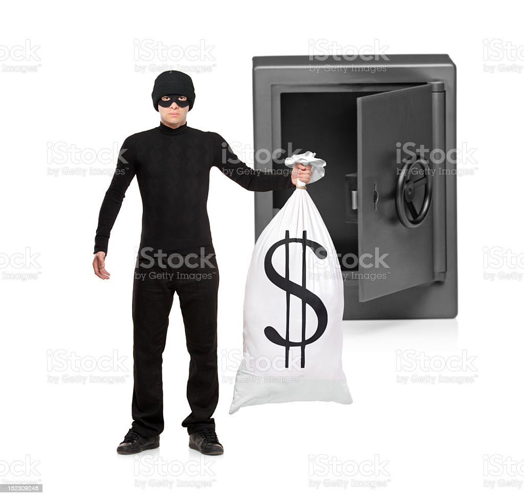 Full length portrait of thief stealing a bag royalty-free stock photo