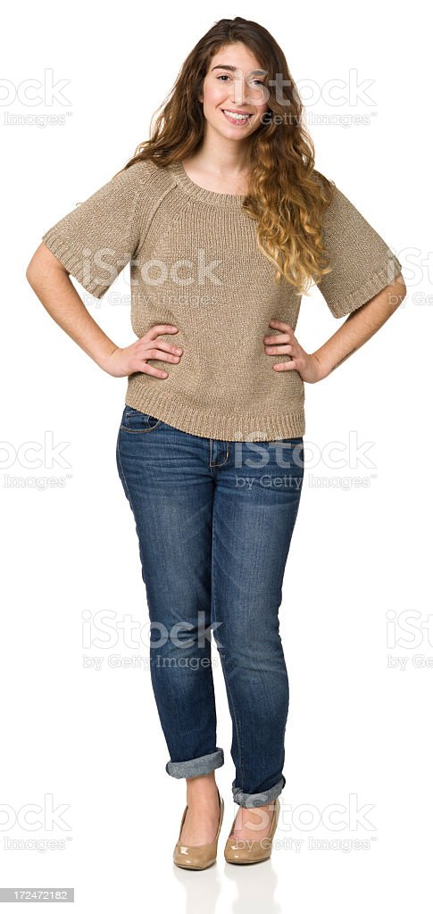 Full Length Portrait Of Young Woman With Hands On Hips royalty-free stock photo