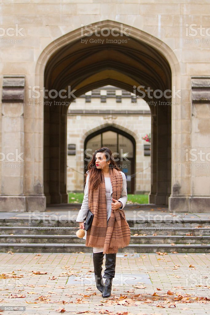 Full Length Portrait with Architecture Feature stock photo
