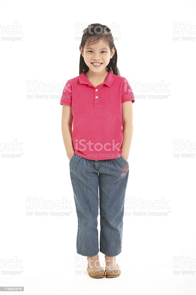 Full Length Studio Shot Of Chinese Girl stock photo