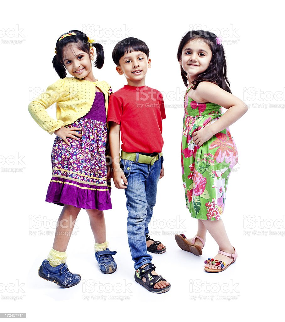 Full Length Stylish Little Indian Girls Boy Isolated on White royalty-free stock photo