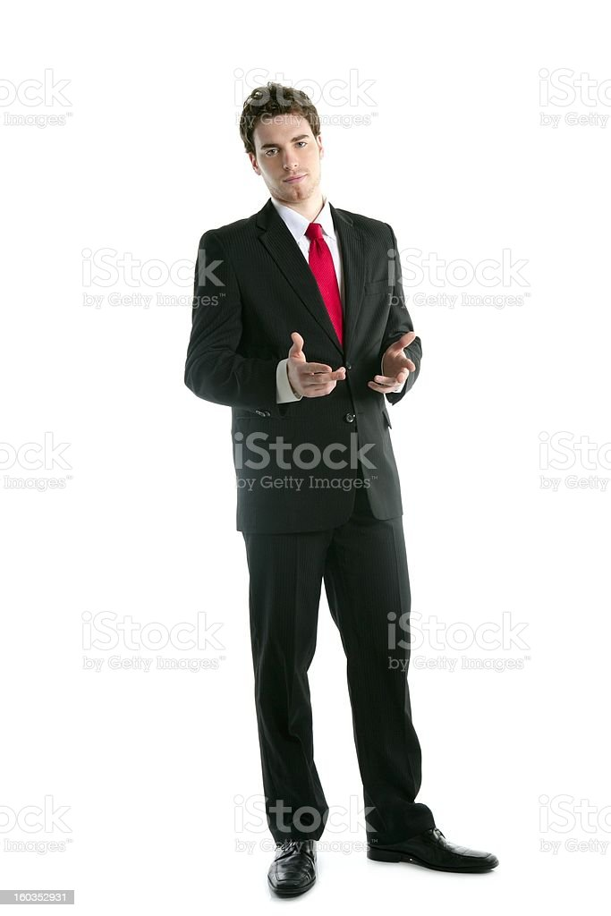 full length suit businessman talk hands gesture royalty-free stock photo