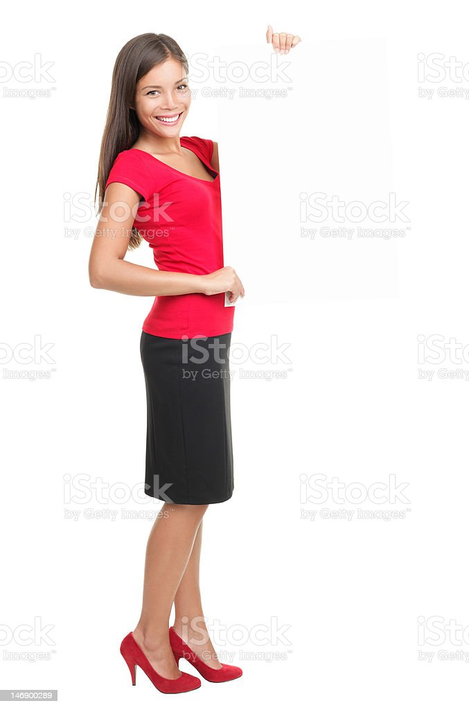 Full length woman presenting blank sign royalty-free stock photo