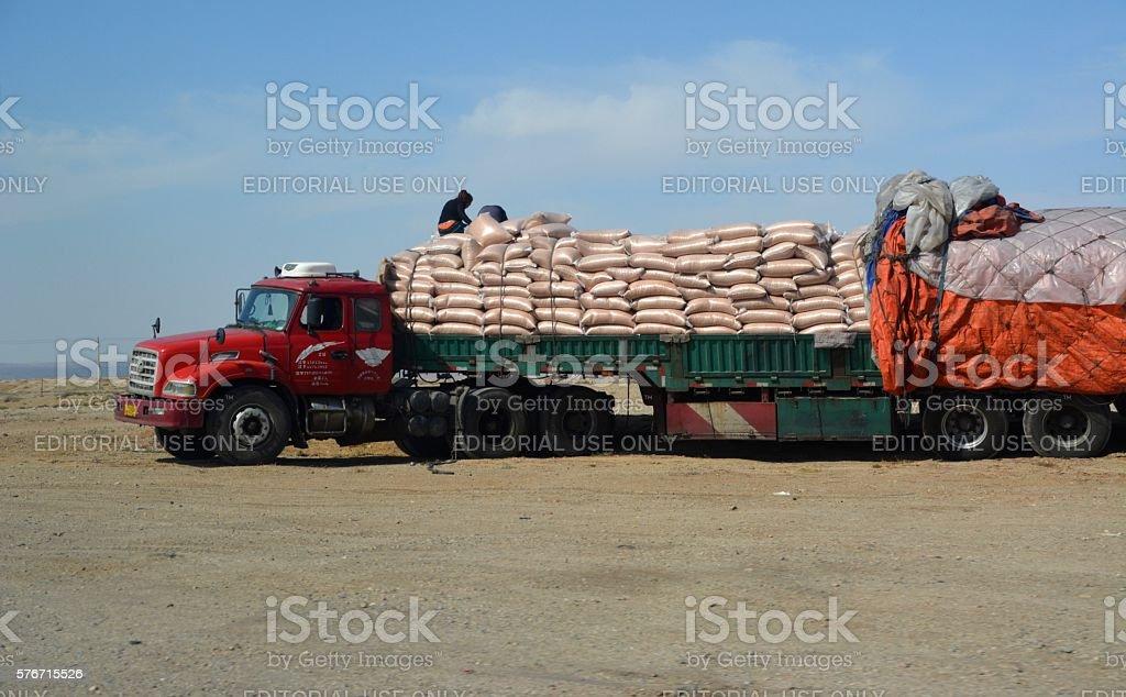 Full loaded Truck in Inner Mongolia's far west, China stock photo