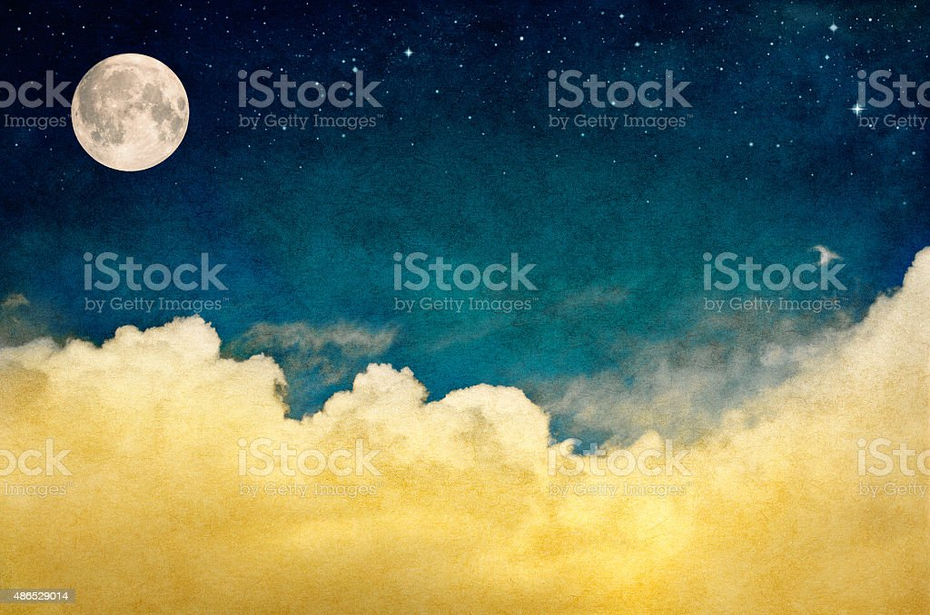 Full Moon and Cloudscape stock photo