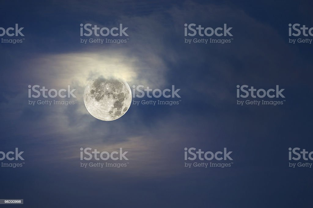 Full moon and cloudy sky stock photo