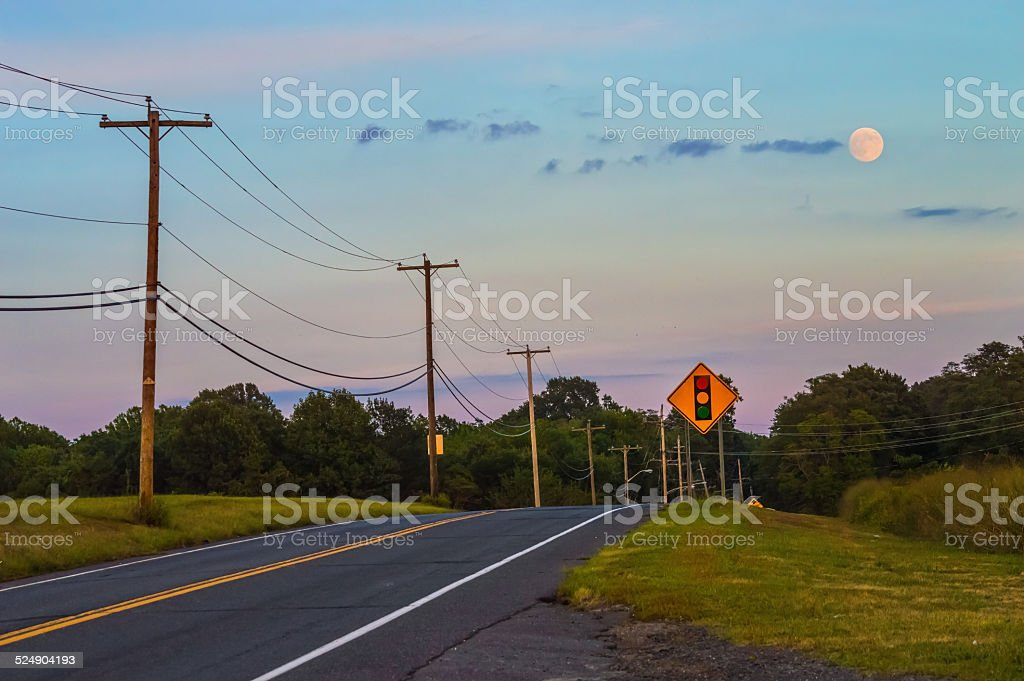 Full Moon and Highway stock photo