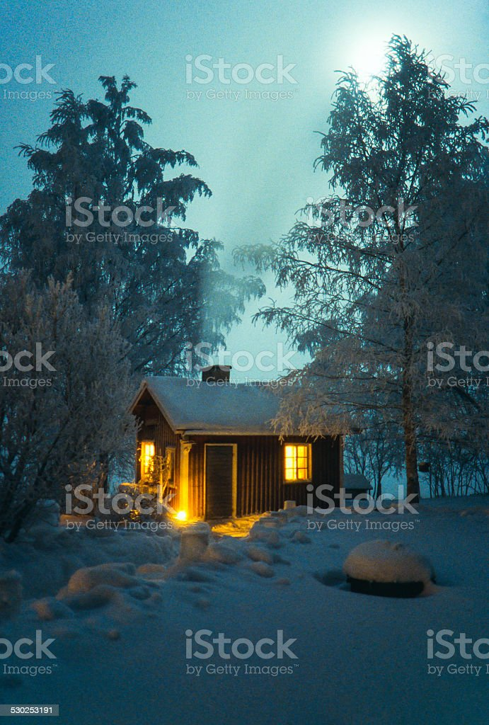 Full moon and house stock photo