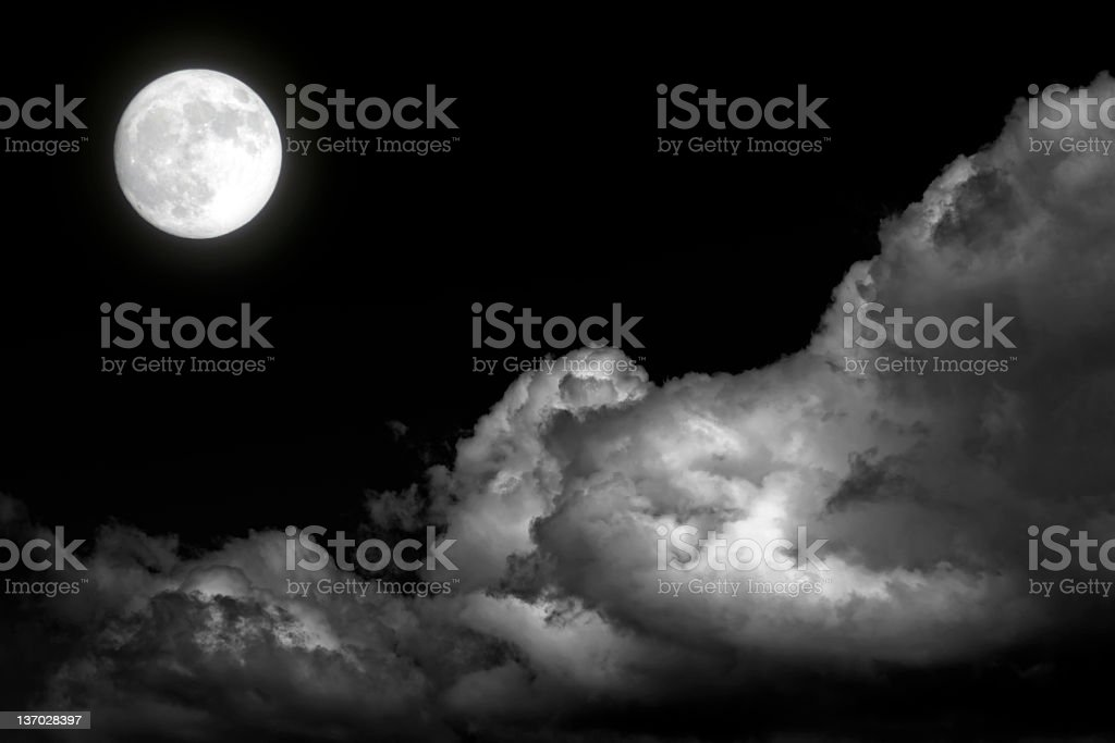 XL full moon and storm clouds royalty-free stock photo