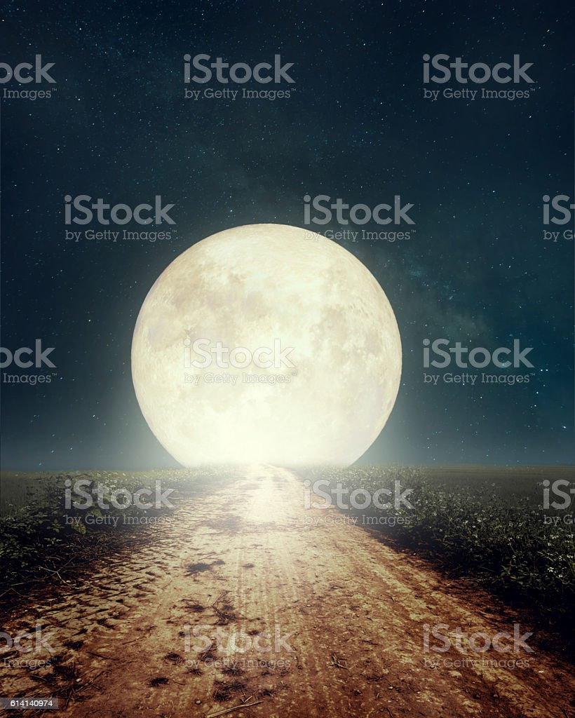full moon at countryside road stock photo