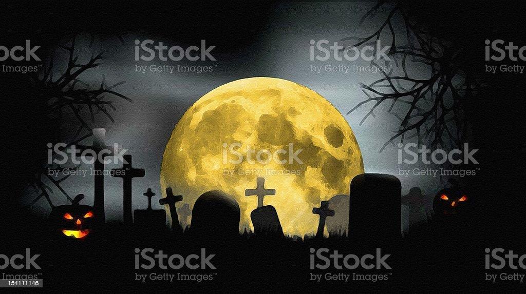 Full moon at creepy cemetery stock photo