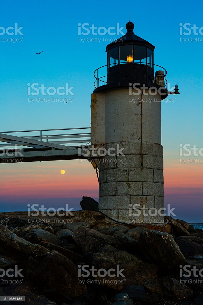Full Moon at Marshall Point Lighthouse stock photo