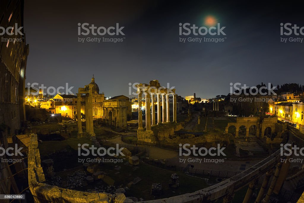 Full moon at the Forum Romanum - Wide Angle version stock photo