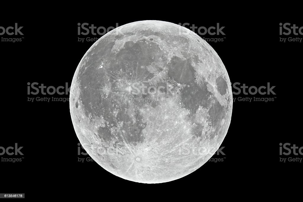 Full moon closeup stock photo